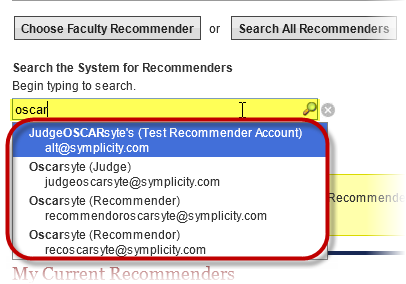type name in recommender search box